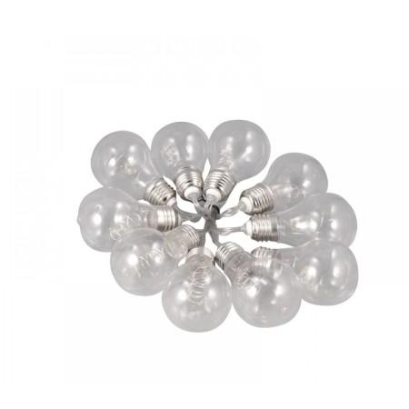 LED соларно въже с 10бр. крушки BULB топла светлина, 4м