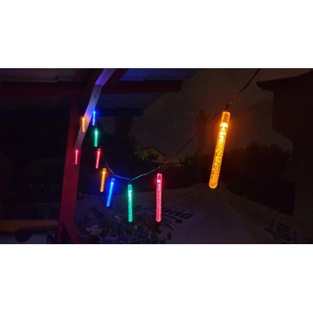 Соларнa LED лампa тип гирлянд за градина (комплект - 10бр. стикове) - Цветни